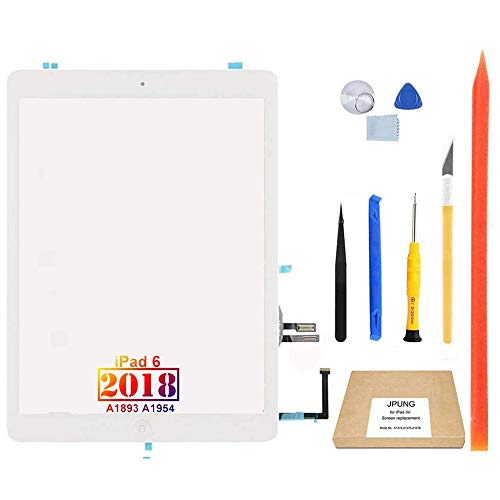 JPUNG Touch Screen Replacement for iPad 6 6th Gen Digitizer 2018 9.7', Only for 6th Generation A1893 A1954, with Home Button, Full Repair Kit, Camera Holder, Pre-Installed Adhesive