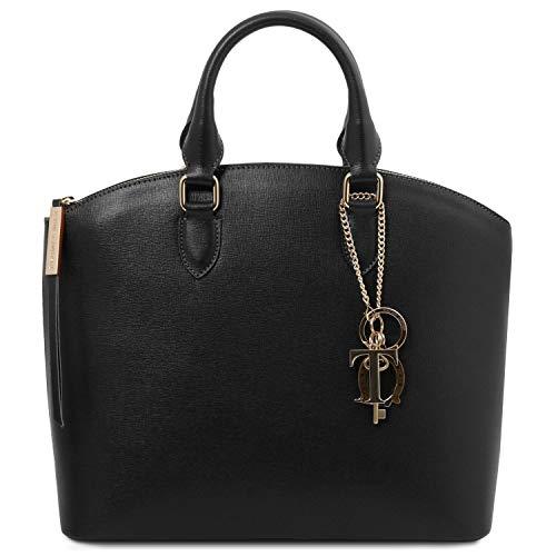 Tuscany Leather - TL KeyLuck - Shopper Tasche aus Saffiano Leder Schwarz - TL141261/2