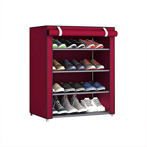 xingguang Zapatero de tela no tejida multicapa desmontable zapatero a prueba de polvo, organizador de zapatos, organizador de zapatos, color rojo F5