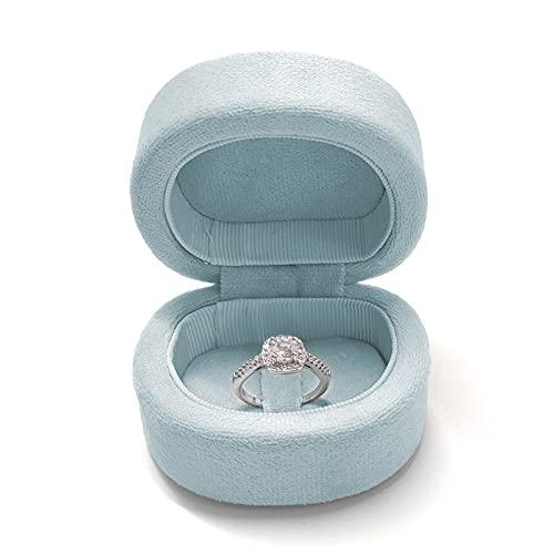 EATAN Caja de terciopelo en forma de D para anillos de boda, compromiso, organizador de joyas para bodas, anillos de compromiso