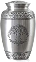 Tree of Life Silver Pewter Cremation Urn for Ashes/Funeral Urns by Glow Choice/Gift or Tribute Vase for Burial Memorial/Be...
