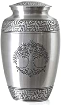 Tree of Life Silver Pewter Cremation Urn for Ashes/Funeral Urns by Glow Choice/Gift or Tribute Vase for Burial Memorial/Beautiful & Affordable