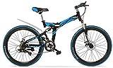 TYT Bicicleta de Montaña K660M Bicicleta Plegable de 24 Pulgadas Mtb, Bicicleta Plegable de 21 Velocidades, Horquilla con Cerradura, Frente Y Amplificador; Suspensión Trasera, Freno de Disc