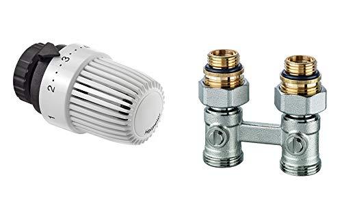 IMI Heimeier Hahnblock Ventilheizkörper Set Thermostatkopf Thermostatventil Fühler gerade Ausführung