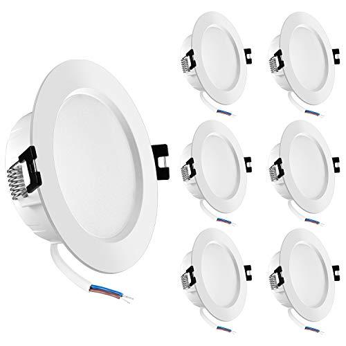 Foco Empotrable LED de 6W, Luz de Techo LED Impermeable Blanca Cálida 3000K IP44, Foco de Techo Empotrable AC 220-240V, No Regulable Luz de Techo Redonda Para Baño, Cocina, Paquet de 6, Eco.Luma