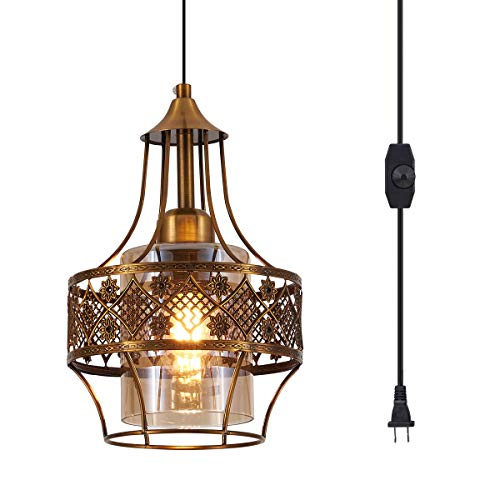 YLONG-ZS Pendant Lighting Fixtures, Bronze Farmhouse Hanging Chandelier Lights with Amber Glass Shade, Mini Industrial Ceiling Lamp for Kitchen Island Dining Room Hallway Bedroom