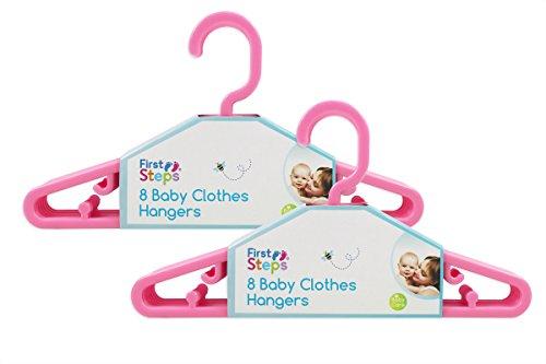 First Steps - Paquete de perchas para ropa de bebé (8, 16, 24 o 32 unidades), color rosa, blanco o azul rosa rosa Talla:Pack of 16