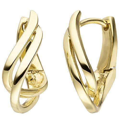 JOBO Damen Creolen geschwungen 375 Gold Gelbgold Ohrringe Goldcreolen Goldohrringe