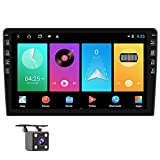 Hikity 10.1 Inch Android Car Stereo with GPS Double Din Bluetooth Car FM Radio Support WiFi Connect Mirror Link for Android/iOS Phone + Dual USB Input & 12 LEDs Backup Camera