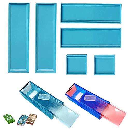 Caja de almacenamiento Dominó molde de resina, molde de silicona Dominó, caja de regalo de joyería de Dominó, caja de regalo para decoración del hogar (1 unidad)