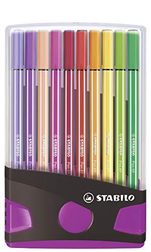Pennarello Premium - STABILO Pen 68 Colorparade - Astuccio da 20 antracite/rosa - 20 colori assortiti