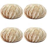 JAP768 4 unids Mohair Hilado Crochet Hilado de Lana de bebé Barato for suéter de Punto 166m 0.9mm ilos for Tejer dedelgado (Color : 4pcs 42)