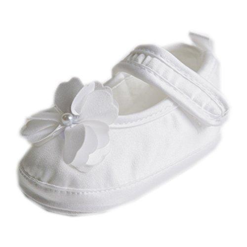 Festliche Taufschuhe Babyschuhe Ballerinas Satin Weiß Blume Gr. 20 Modell 6352/307