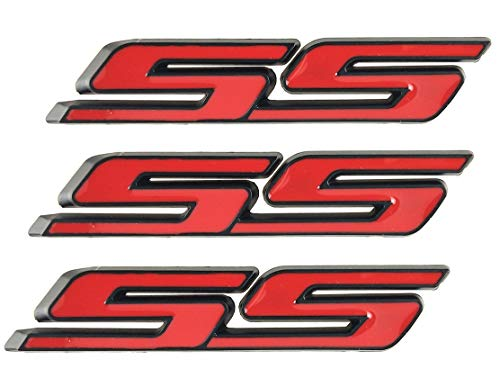 3PACK SMALL SS EMBLEMS AUTO TRUNK DOOR FENDER BADGES DECAL 3D ABS STICKER REPLACEMENT FOR CHEVY IMPALA COBALT CAMARO 2010-2018 (Black Red)
