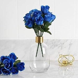 Efavormart 84 Artificial Buds Roses for DIY Wedding Bouquets Centerpieces Arrangements Party Home Decoration Supply – Royal Blue