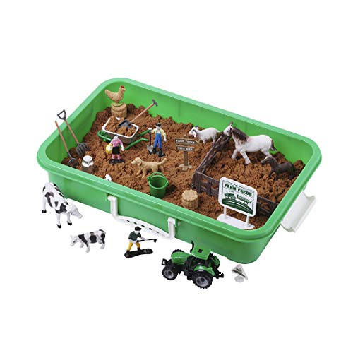 Farm Sand Play Set - Sensory Toys for Kids with 2 lbs of Sand, Farm Animals, Signs, Fences, Trucks and Farm Tools - 28 Farm Toy Figures with Container Storage for 3, 4, 5 Year Old Toddlers