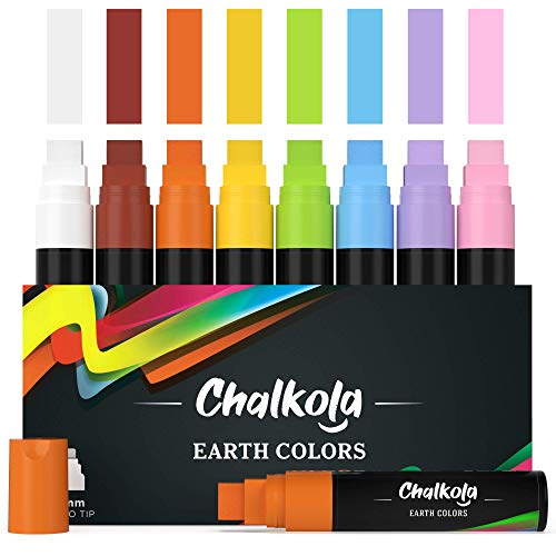 Jumbo Chalk Markers - 15mm Window Markers | Pack of 8 Classic Earth Color pens - Use on Cars, Chalkboard, Whiteboard, Blackboard, Glass, Bistro | Loved by Teachers, Artists, Businesses