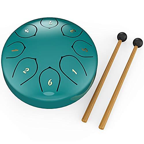 Afloia Steel Tongue Drum Instrument, Percussion Instrument Steel Pan Drum mit Steel Tongue 6 Zoll G-Dur 8 Töne, verwendet für Yoga, Meditation, Unterhaltung, Sammeln, Üben