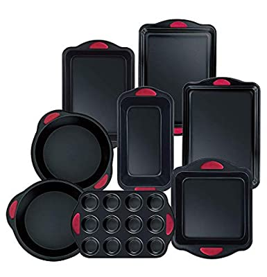 Hell's Kitchen Nonstick 8 Piece Ultimate Bakeware Set - Baking Pans and Baking Sheet in Non Stick with Red Silicone Grips - Bakeware Set includes Cookie, Cake, Muffin, Roasting and More