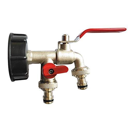 Minear IBC Tank Adapter Messing Wasserhahn Anschluss Doppel Outlet Grob S60X6 Gewinde Für Heimanschlüsse Für Gartenbewässerung