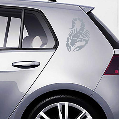 INDIGOS UG Aufkleber - Autoaufkleber-Set Skorpion 2 STK. je 30cm x 20cm Silber - Tuning Carystyling Heckscheibe Auto