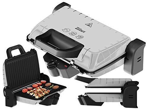 Kontaktgrill | 1600 Watt | 3 Heizstufen | Elektrischer Tischgrill | Elektrischer Grill | Paninigrill | Sandwichtoaster | Anti-Haftbeschichtung | Cool-Touch-Technologie | Fettauffangschale (Sio Silver)