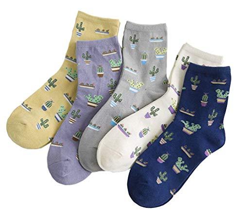 EDOTON Socken Pack für Damen Mädchen Lässige Socken mit Cartoon-Muster Bequeme Socke 5-6 Paar (6 Paar-6109) (5 paar-Kaktus)