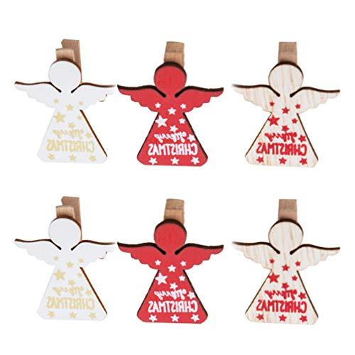 Wakauto 6Pcs Weihnachten Wäscheklammern Mini Holzklammern Engel Form Fotoclips Bild Heringe Notizclip für Büro Home Bild Banner Urlaub Dekoration
