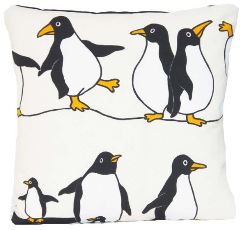 Dancing Penguins Cushion Cover Fabric Happy Feet Black & White Décor Pillow Throw Case by Vintage look