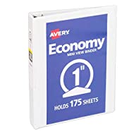 Avery Mini Economy View Binder with 1 Inch Round Ring, 5.5 x 8.5 inches,  White, 1 Binder (5806)