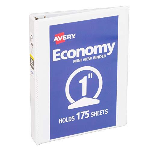 Avery Mini Economy View Binder with 1 Inch Round Ring, 5.5 x 8.5 inches, White, 1 Binder (5806)