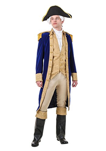 George Washington Costume Adult Colonial Costumes for Men Small Blue