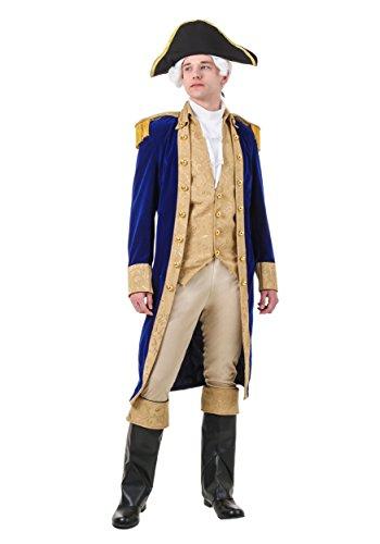 George Washington Costume Adult Colonial Costumes for Men Medium Blue
