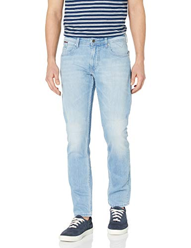 Tommy Hilfiger Men's Original Ronnie Straight Athletic Fit Jeans, Berry Light Blu, 36X36