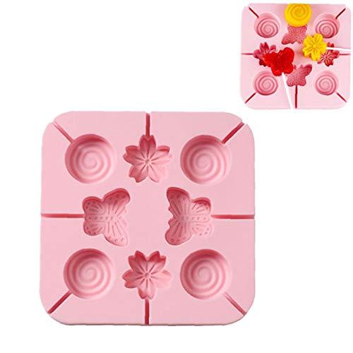 Molde de silicona Lollipop en forma de flor de cerezo de Moold suave y segura Lollipop molde del molde de forma linda para Hacer Lollipop de silicona del molde Accesorios 8 flores de cerezo