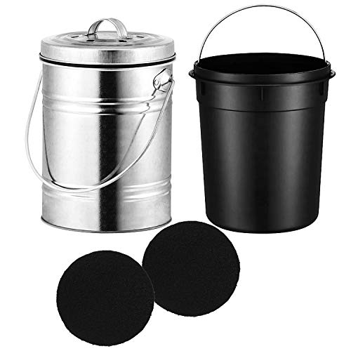 STARVA ST 3 litres Bac à Compost en Acier Inoxydable pour Comptoir de Cuisine - Seau à Compost avec Couvercle - Comprend 2 Filtres à Charbon de Rechange, sans Odeur et Facile à Nettoyer