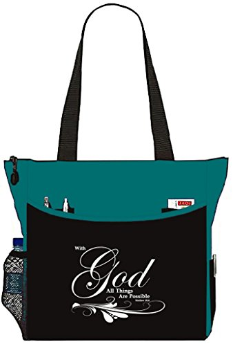Matthew 1926 With God All Things Are Possible Tote Bag Christian Bible Cover Verse Church Office School Travel Gym Book Organizer - Teal Black