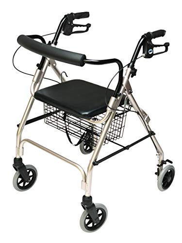 Graham-Field Lumex Walkabout Lite Four Wheel Rolling Walker Rollator With Ergonomic Hand Grips And Carrying Basket, Champagne