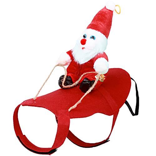 Zhongdawei Perro Papá Noel Montar Disfraz de Navidad Divertido Mascota Vaquero Jinete Diseñado a Caballo Perros Gatos Atuendo Ropa Vestir Ropa de Fiesta Navidad Halloween