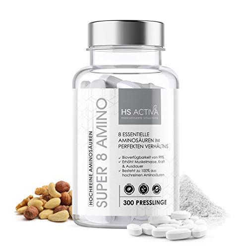 Super 8 Amino I 8 essentielle Aminosäuren im perfektem Verhältnis I Amino Pattern I 300 Presslinge I 8 EAA´s & BCAA I Vegan I Ohne Zusatzstoffe