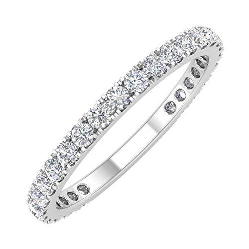 1/2 Carat Diamond 3/4 Eternity Wedding Band in 10k White Gold (Ring Size 5)