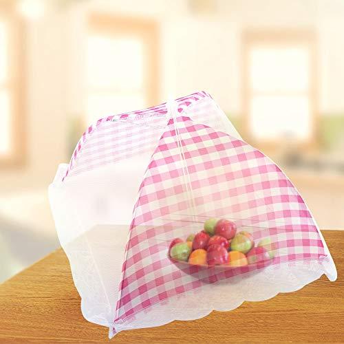 Nahrungsmittelregenschirmabdeckung, Nahrungsmittelregenschirm vertuschen oben Hauben-Ineinander greifen-Wespe-Insekten-Netz BBQ-Küchen-Werkzeug 32x31cm, zusammenklappbar (Rosa)