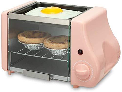 Elektrische Oven Mini, Mini oven met kookplaat en Grill, Table Top fornuis met een oven, Flip de glazen deur op en neer, haal het glas deurkruk, 15 Minute Timer Switch, met pan, roze, geel 8bayfa