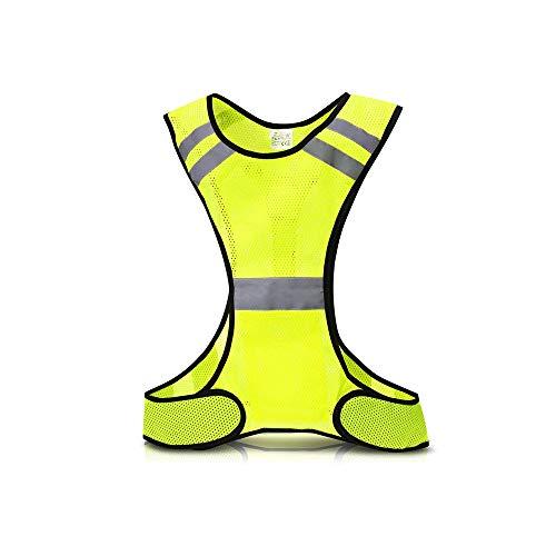 Donpow Chaleco Reflectante para Correr, Chaleco de Advertencia de Alta Visibilidad con 3 Luces LED y Rayas reflectoras para Correr, Trotar, Andar en Bicicleta