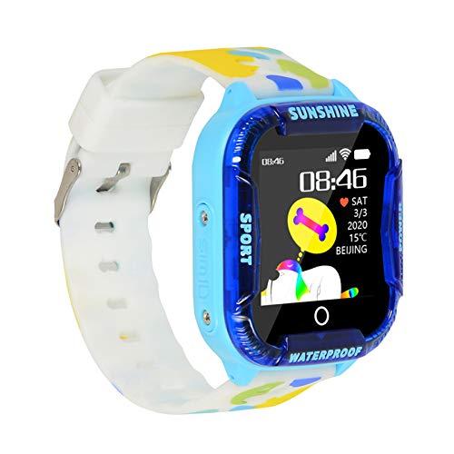 Flytise Reloj Inteligente para niños Pantalla táctil de 1,44 Pulgadas con WiFi LBS Reloj Inteligente para niños Llamada telefónica SOS Cámara de Chat de Video de Voz IP67 Reloj de Pulsera Digital