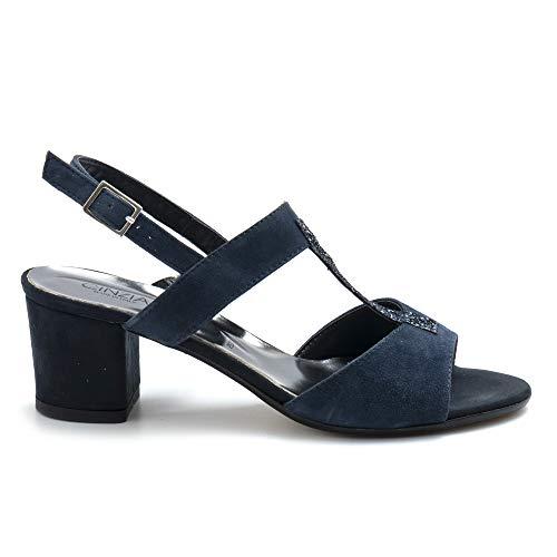 CINZIA SOFT sandalen blauw suède met gemiddelde hak - IBBF325 CG 004 - maat