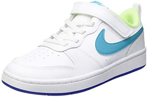 Nike Court Borough Low 2 (PSV), Zapatillas de bsquetbol, White Hyper Blue Ghost Green Oracle Aqua, 33 EU
