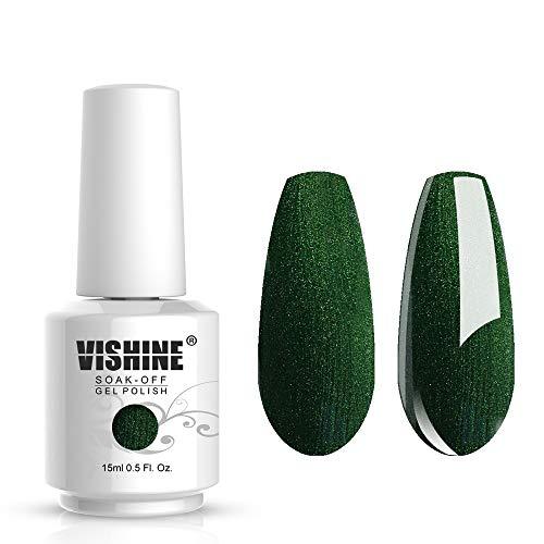 Vishine Nail Salon UV Manicure Polish Soak Off Gel Polish Nail Art Pearl Dark Green (650)