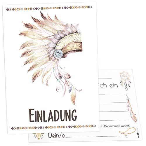 12x Indianer Einladungskarten inkl. Umschläge perfekte Einladung zum Kindergeburtstag oder Kinder Party | Geburtstag-Einladungen zum ausfüllen (Indianer Kopfschmuck)