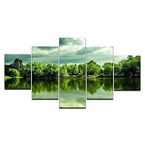 5 Piezas Cuadros Decoracion Modernos Naturaleza Con Vista Lago Verde Decoracion Hogar Vista De Impresión En Lienzo Salón Apartamento Listo Para Colgar 150 X 80Cm
